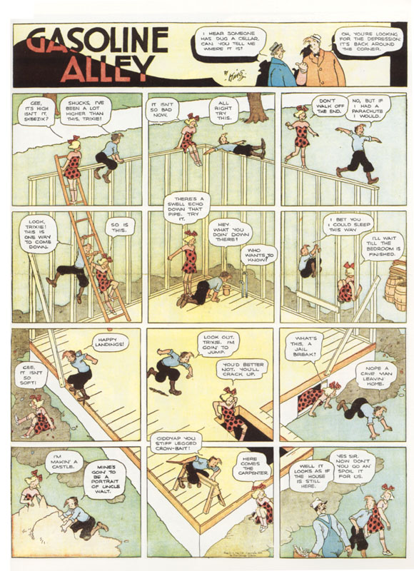 In this particular strip, Frank King took a continuous background and  divided it up into 12 equal-sized panels, so the characters can happily  move around in ...
