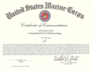 Mari asp award from the united states marine corps for Certificate of commendation usmc template