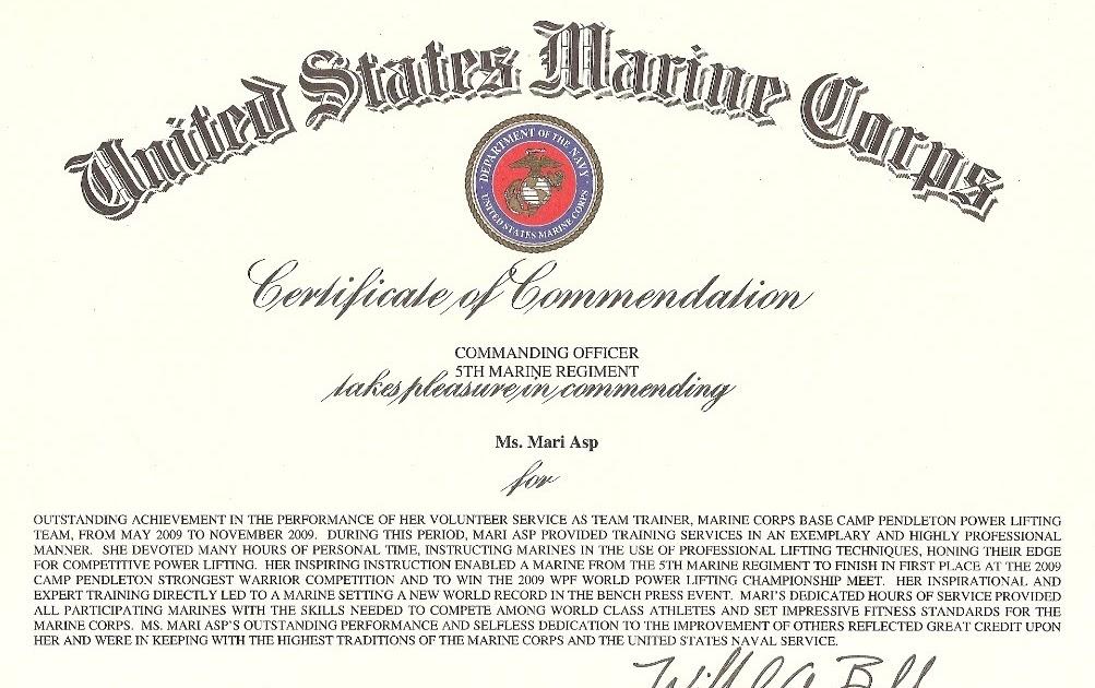 Mari Asp AWARD FROM THE UNITED STATES MARINE CORPS