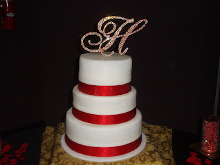 Sweeties Wedding Cake With White Fondant And Red Ribbon Accent