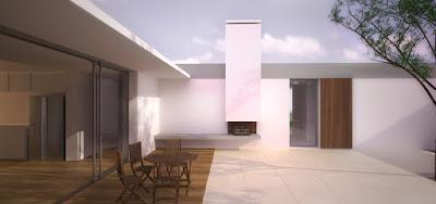 Plan de maison contemporaine plain pied avec patio - Plan de maison avec patio central ...