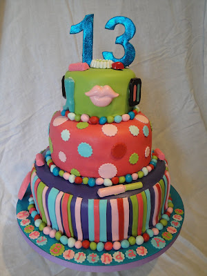3 Tiered Colorful Birthday Cake For A 13 Year Old Girl