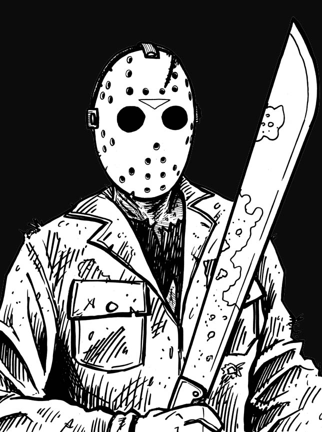 1001caracteres Coloring Pages Jason Voorhees