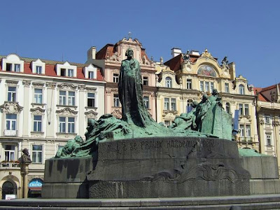 statue of Jan Hus at Old Town Square in Prague
