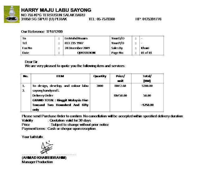 Contoh Quotation Harry Maju Labu Sayong