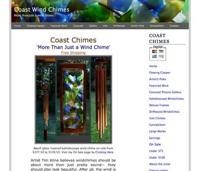 Coast Chimes  website snapshot