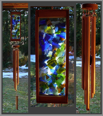wind chime, copper, stained glass