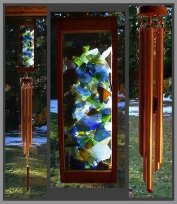wind chime, beach glass, copper