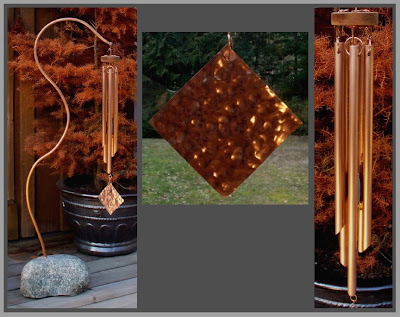 wind chime, freestanding, large, beach stone with copper