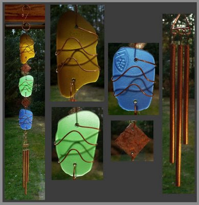 suncatcher, stained glass, cold forged copper, chimes