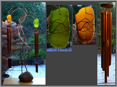 windchime, wind chime, large freestanding double chime with a beach stone base and copper