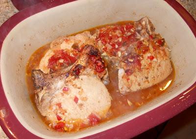 Roasted red pepper pork chops cooked pork chops