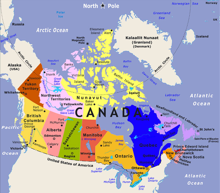 Bodies Of Water Canada Map.Canada Amira Me