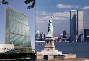 The UN headquarters building and the Statue of Liberty