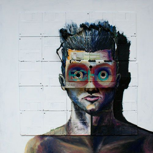 Arte com disquetes e fitas