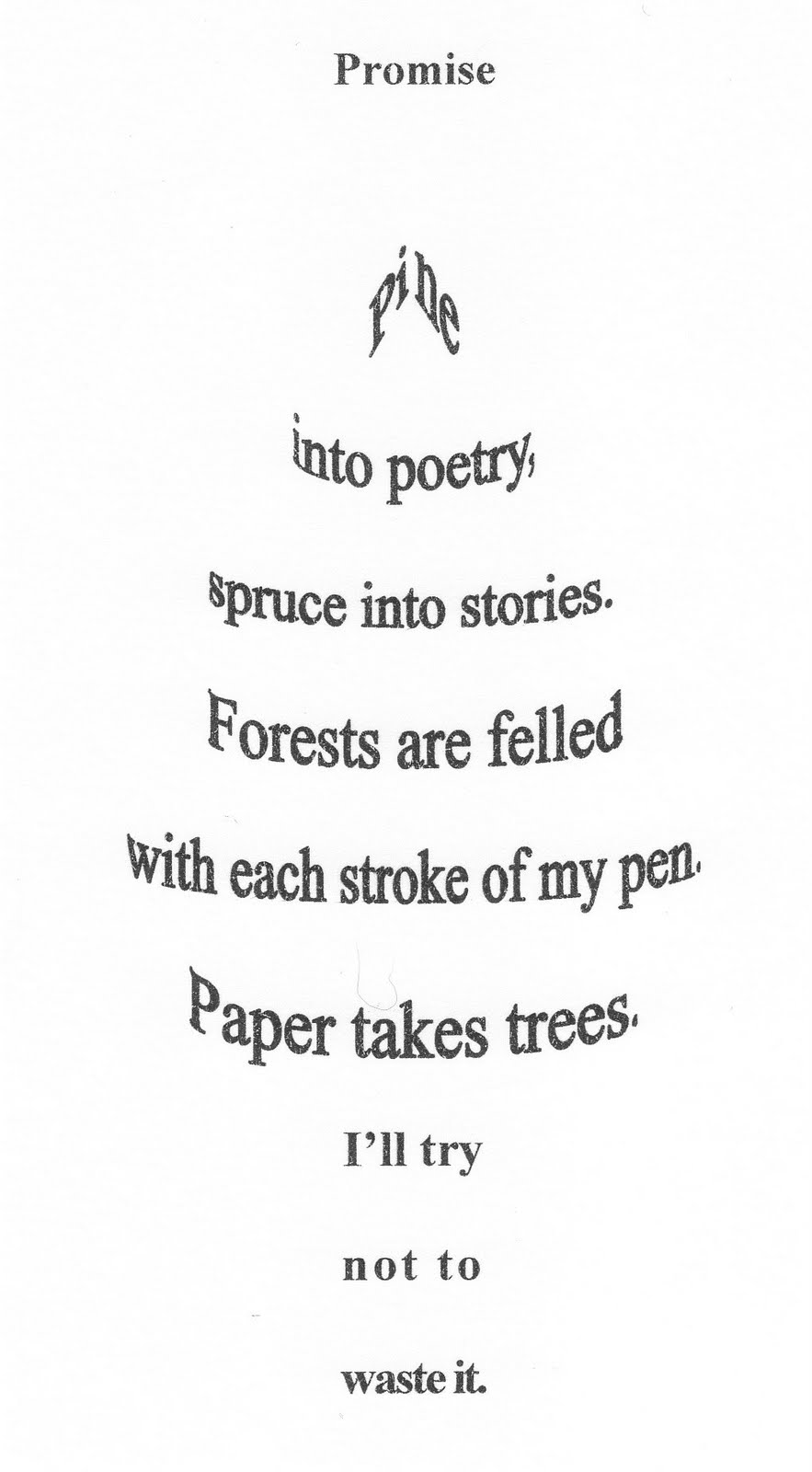 Christmas Concrete Poetry