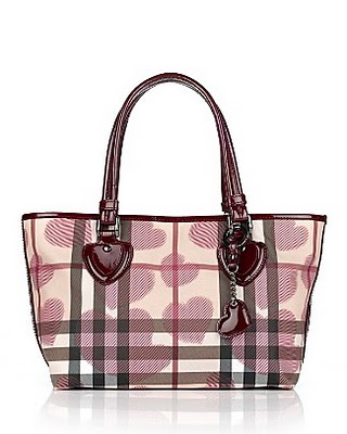 Burberry Heart Print Nova Check Tote Red Sold