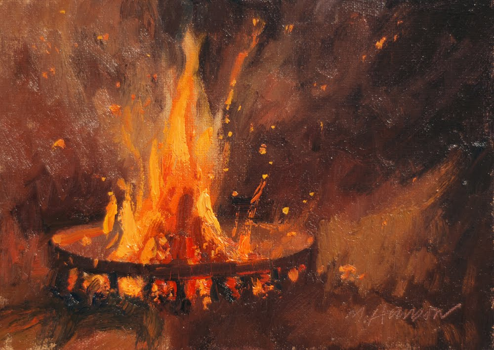 Oil Fires At Night Painting