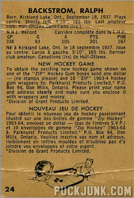 1963-64 Parkhurst #24 – Ralph Backstrom