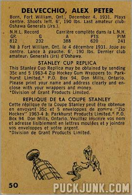 1963-64 Parkhurst #50 - Alex Delvecchio