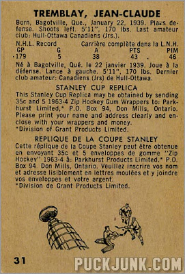 1963-64 Parkhurst #31 – Jean-Claude Tremblay