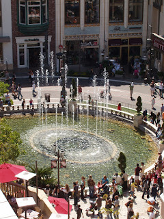 The Grove fountains from above, Los Angeles