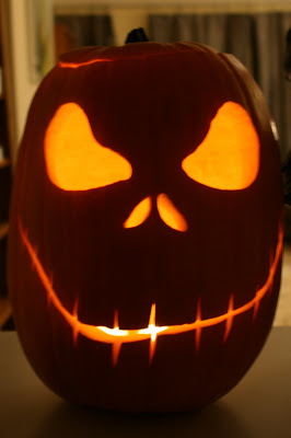 Carved Halloween pumpkin head