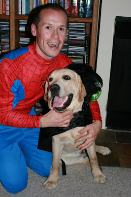 Halloween pup and Spiderman Jason in Hollywood