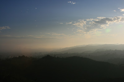 Misty LA mountains at sunset