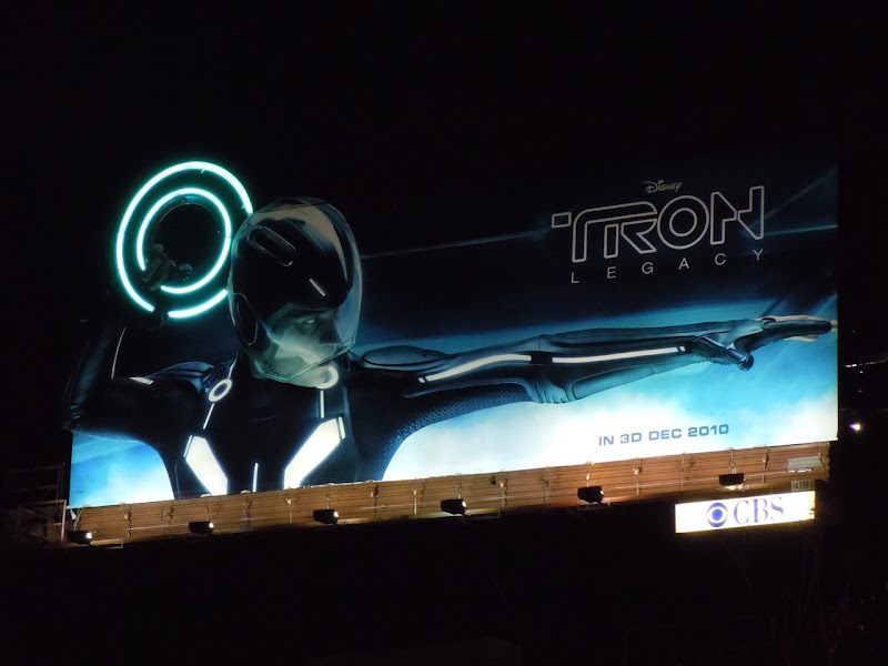 Tron Legacy movie billboard by night