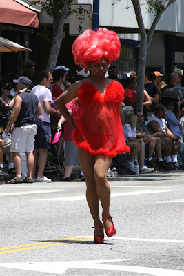 Red dress drag West Hollywood Pride Parade 2010