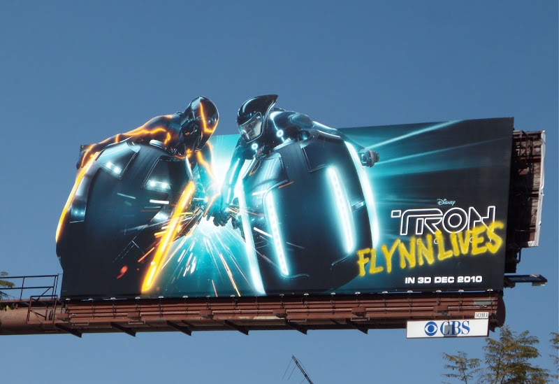 Tron Legacy dueling Lightcycles movie billboard