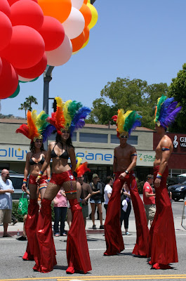 Rainbow stiltwalkers LA Pride 2010