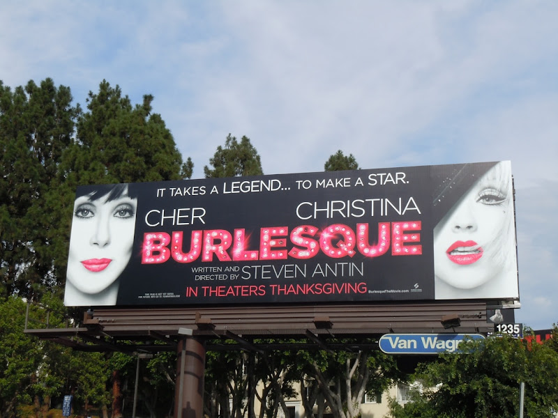 Cher and Christina Burlesque billboard