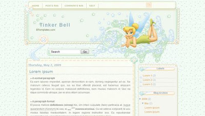 Tinker Bell Blogger Layout