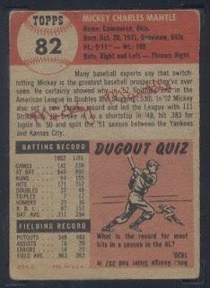 Mickey Mantle Baseball Cards 1953 Topps Mickey Mantle Baseball Card 82