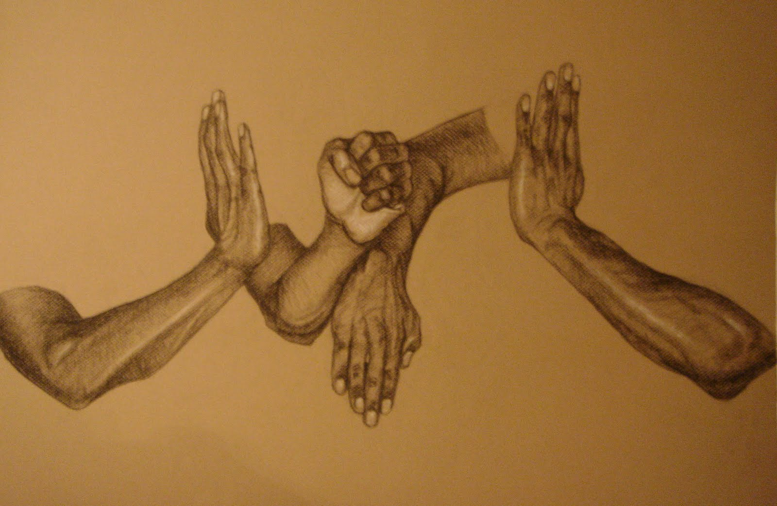 Illustrations & Sketches: Hands Charcoal Drawings