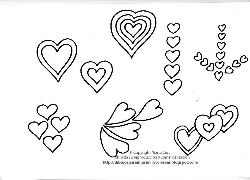 Imagenes De Dibujos Para Colorear De Corazones: DIBUJOS PARA COLOREAR: Dibujo De Corazones Para Imprimir Y