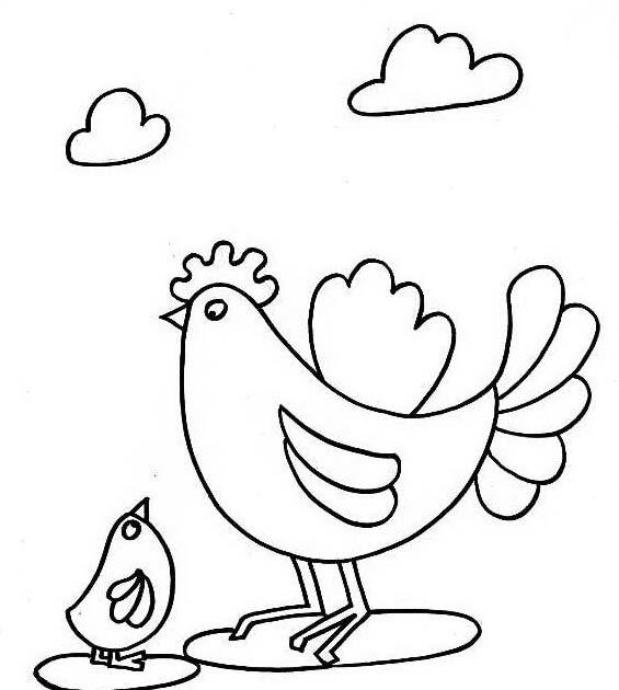 Dibujos Para Colorear Una Gallina Con Sus Pollitos