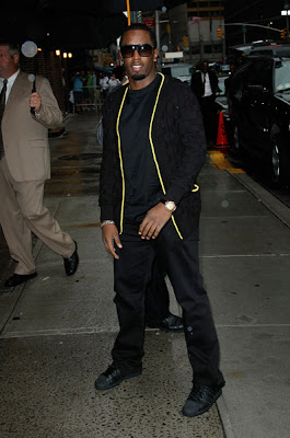 35dc060f401 Diddy showed up to the Late Show with David Letterman this past week  wearing a pair of crispy all Black adidas Superstar's aka shell toes.