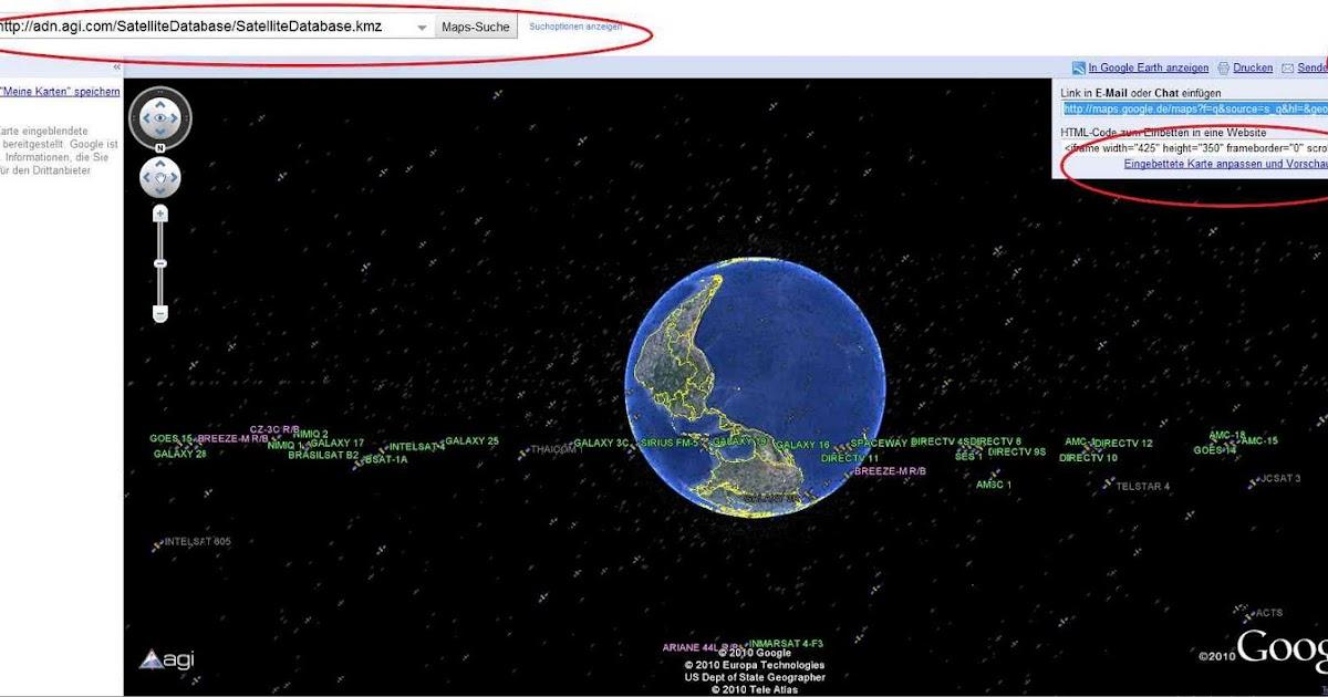 satellitenpositionen karte Satellitenpositionen in Google Earth anzeigen lassen und der