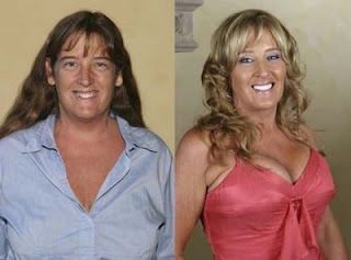 mujer con y sin maquillaje