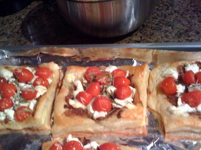 cherry tomato tarts goat cheese puff pastry