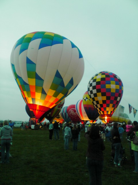 Hot Air Balloon Glow at dusk in Indianapolis.