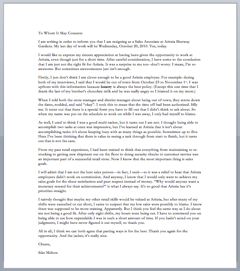 A Hole With A Blog Greatest Resignation Letter Of All Time