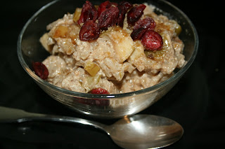 This is Breakfast Risotto: arborio rice, dried fruit, cream, cinnamon...