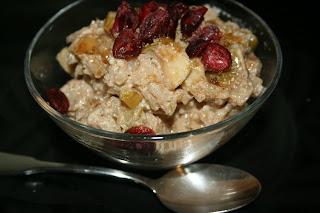 This is Breakfast Risotto: arborio rice, dried fruit, cream, cinnamon...