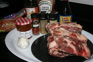 All the ingredients for Orange Chipotle Ribs in the CrockPot. Recipe from A Year of Slow Cooking website.