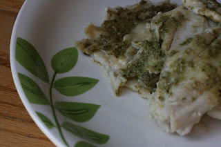 Pesto Fillet of Sole -- cooked in the crockpot slow cooker. Recipe calls for fish to be cooked in parchment paper or foil -- from A Year of Slow Cooking