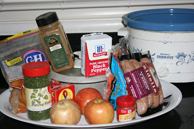 These are the ingredients needed to make Autumn Sausage Casserole in the crockpot slow cooker.